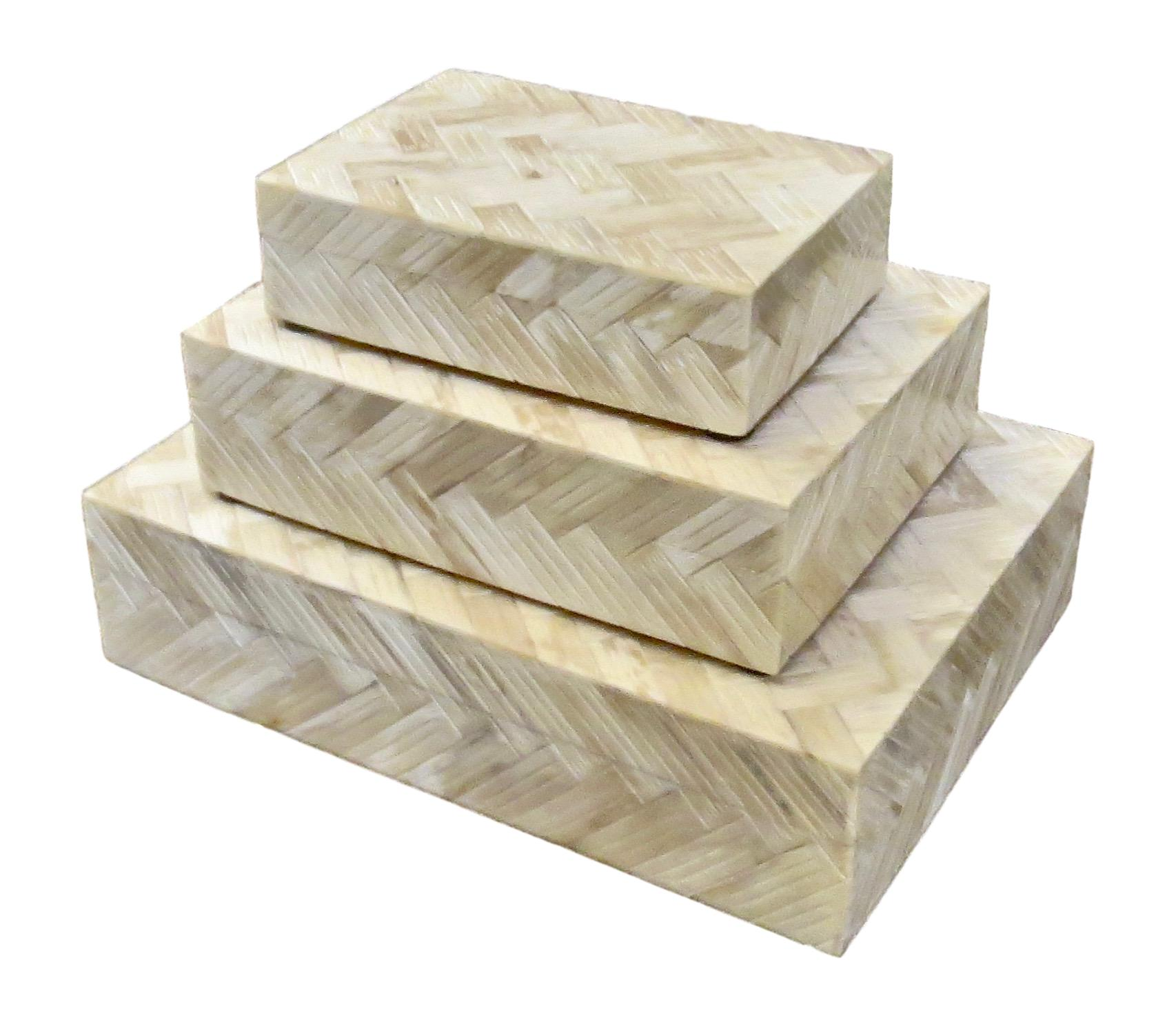 Herringbone Carved Bone Box   Large   12x9x3h   BiU222L  Medium   9x7x2.5h   BIU222M  Small   7x5x2h   BIU222S