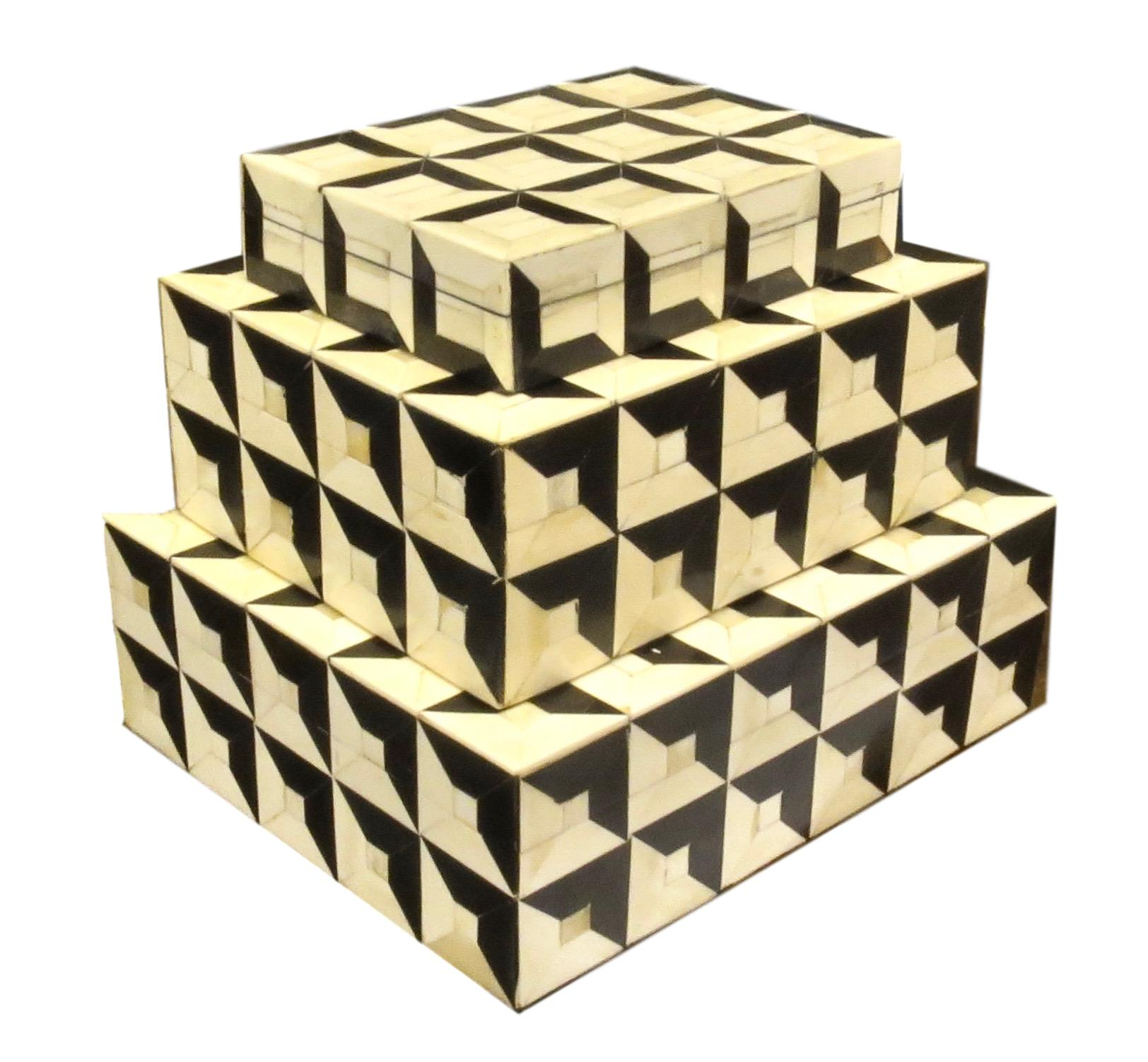 Black/White Geometric Bone Box   Large   12x10x4h   BIT113L  Medium   10x8x4h   BIT113M  Small   8x6x2h   BIT113S