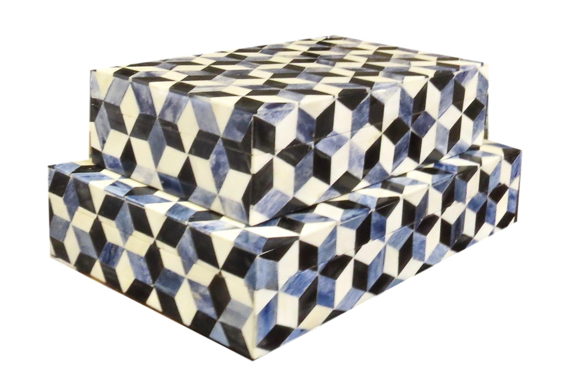 Escher Bone Box Blue/White Black  Large 14x9x3h BIJ980L  Small 12x7x3h BIJ980S