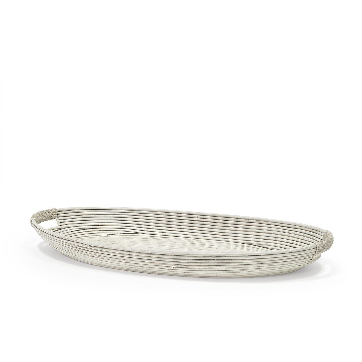Oval White Washed Pencil Pole Rattan Tray Large   32x14x3.5h  P308903