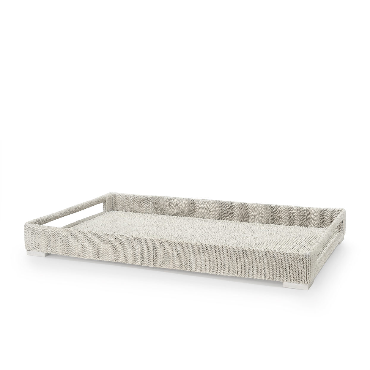 Rectangular Woven Seagrass Rope Tray White  Large   30x18x3.5h   P387103  Small   27x15x3.5h   P387203