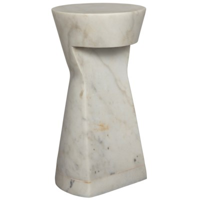 White Marble Side Table  12.5dx25h  NOGTAB16