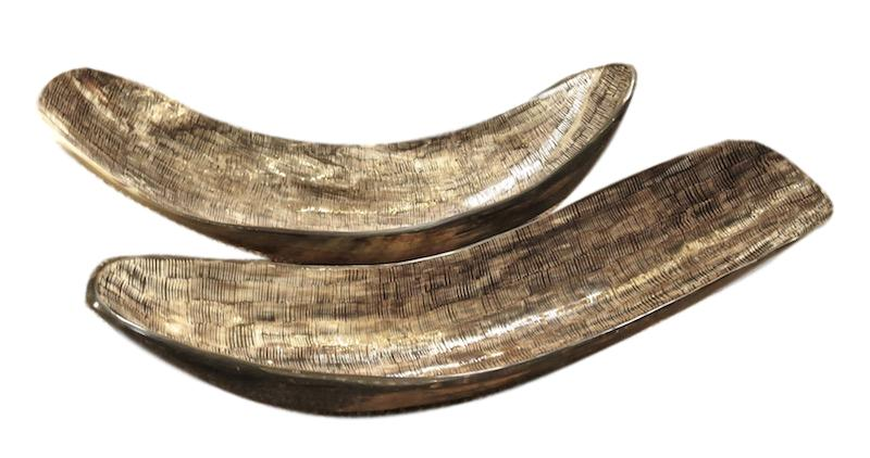 Narrow Etched Horn Bowl   19x5.5x6h +/-  BIJ51