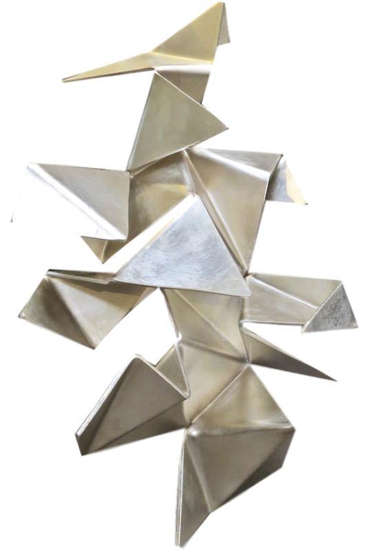 Iopomo - Silver Origami Polyurethane/Enamel Wall Construction  33.5x22x9  RLORG