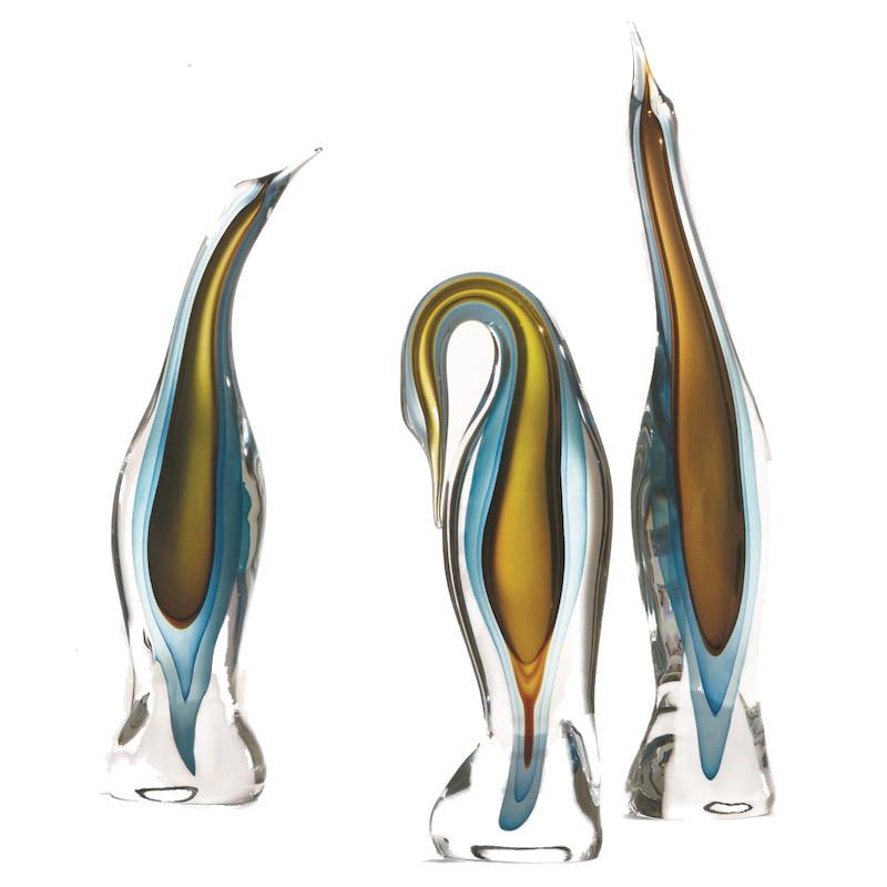 Murano Blue Glass Heron   Small 7x3.5x20h   GV6.60375  Medium 8x3.5x22h   GV6.60374  Large 6x4x25h  GV6.60373
