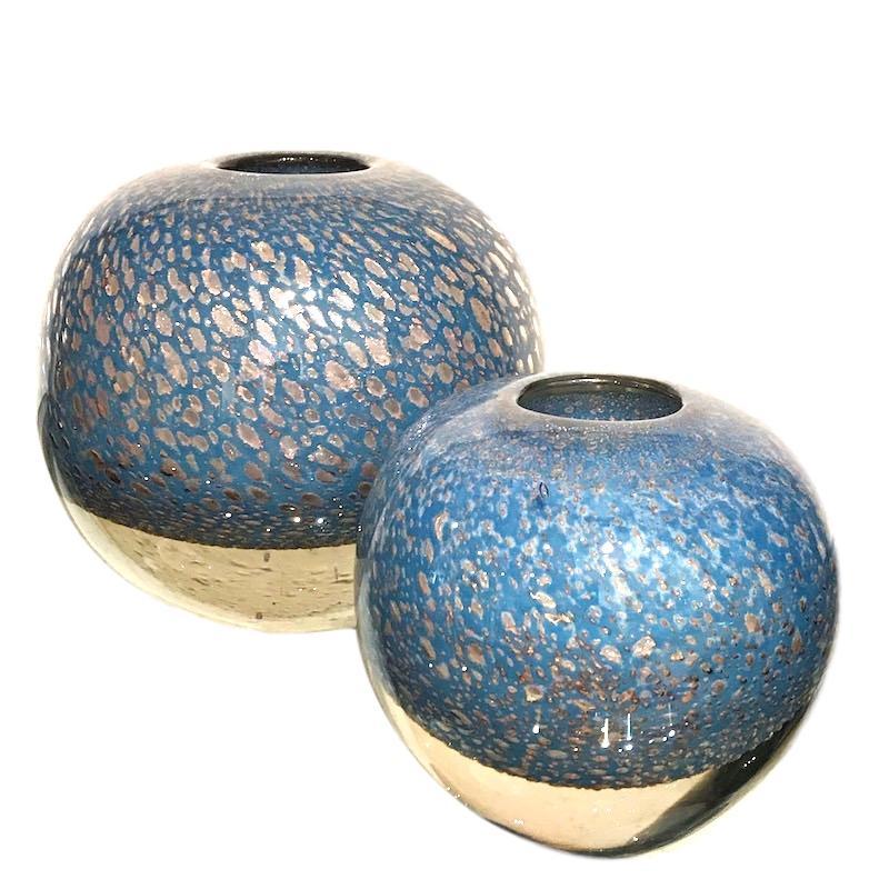 """Handblown Glass Bubbles Vase - Blue Petrol  Small 5.3dx5.3""""h EU1471222  Large 8dx8""""h EU1471224"""