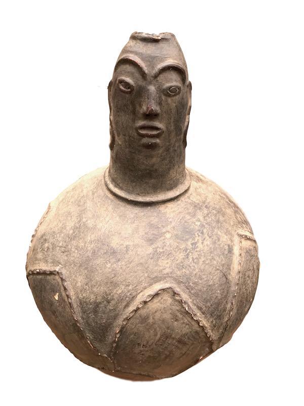 Vintage Figural Mossi Ceramic Jar Burkina Faso  11dx22.5h +/-  AF233