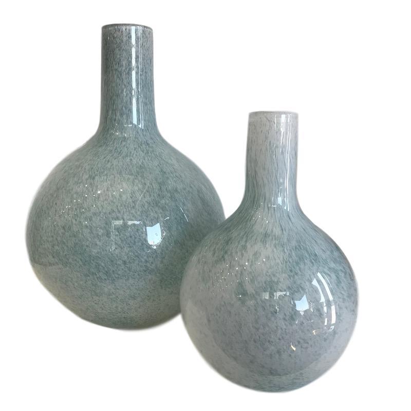 Mineral Blue Glass Bottle w/Bubbles   Large   12dx16.5h   EU1472681  Small    8dx12h    EU1472682