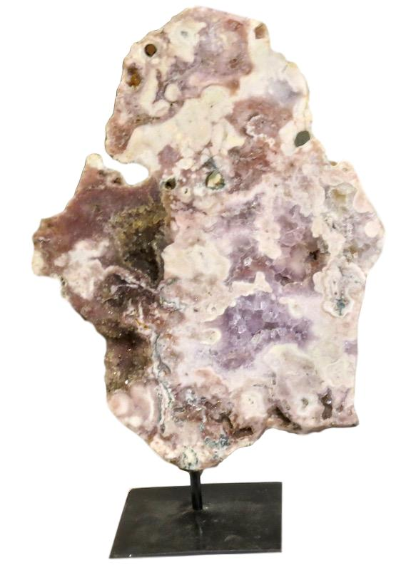 Lace Agate Slice/Iron Stand   12x6x19h  VO062