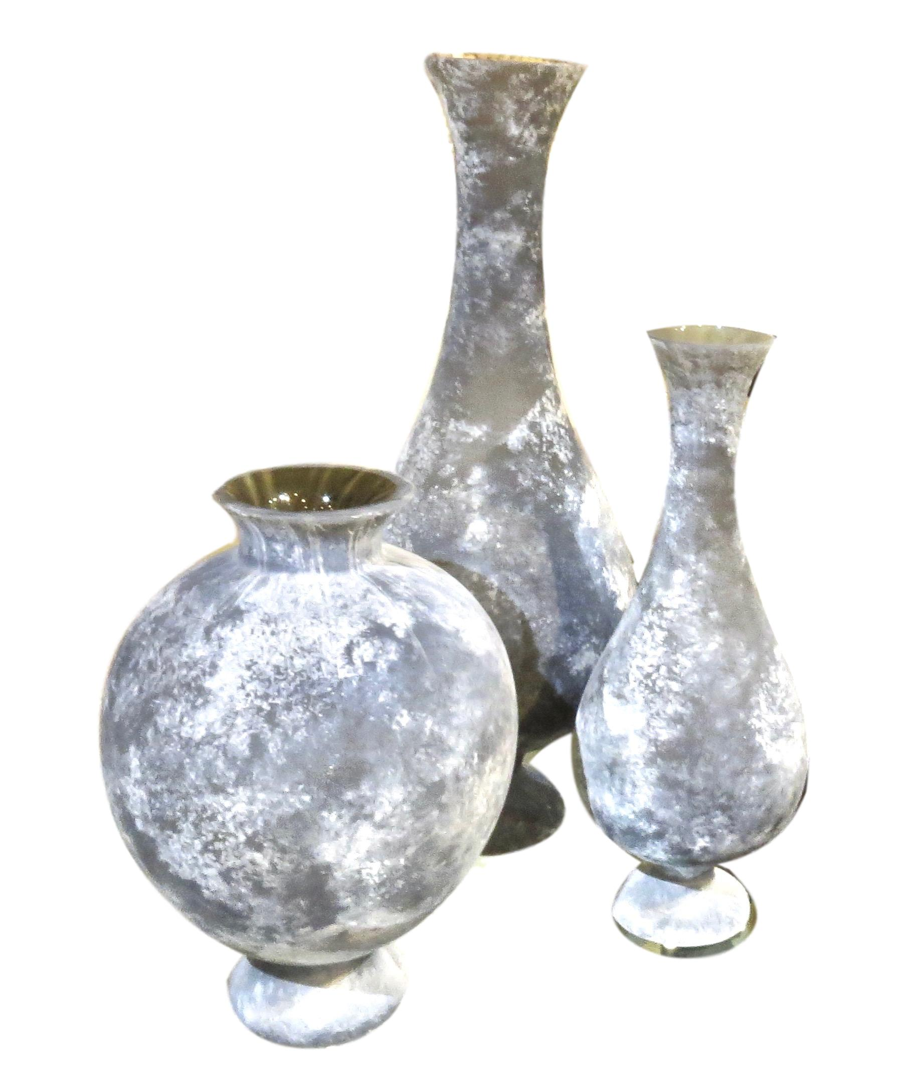 """Gray Scavo Glass Vases  10.75""""DIA. X 14.75""""H GVRT7.30018  10.5""""DIA. X 25.5""""H GVRT7.30016  7.5""""DIA. X 18.5""""H GVRT7.30017"""