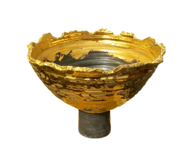 Tatiana, Relic Footed Bowl, 23k Gold/Satin Matte Black   8.5dx6.5h  TA068