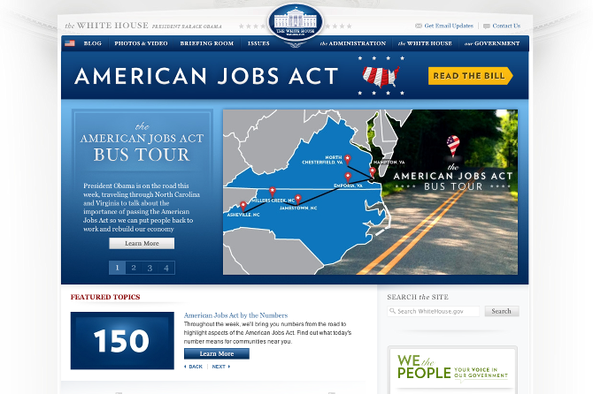 The Whitehouse.gov homepage takeover for the American Jobs Act Tour