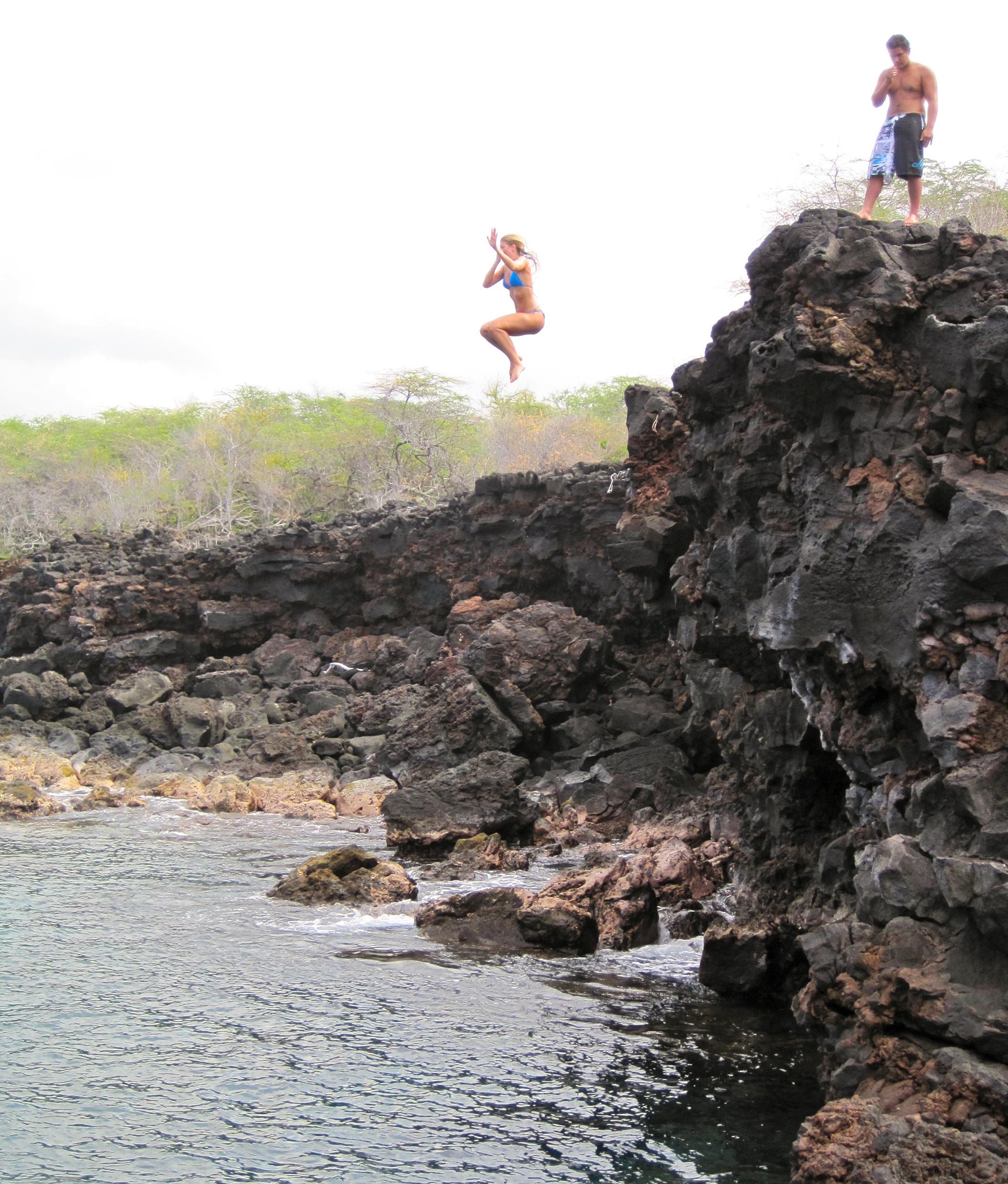 Cliff jumping, Big Island, Hawaii