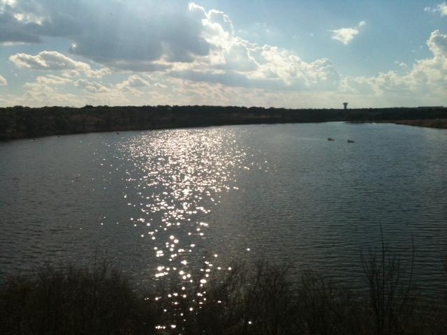 Beautiful lake, kayaks, canoes and an airplane!