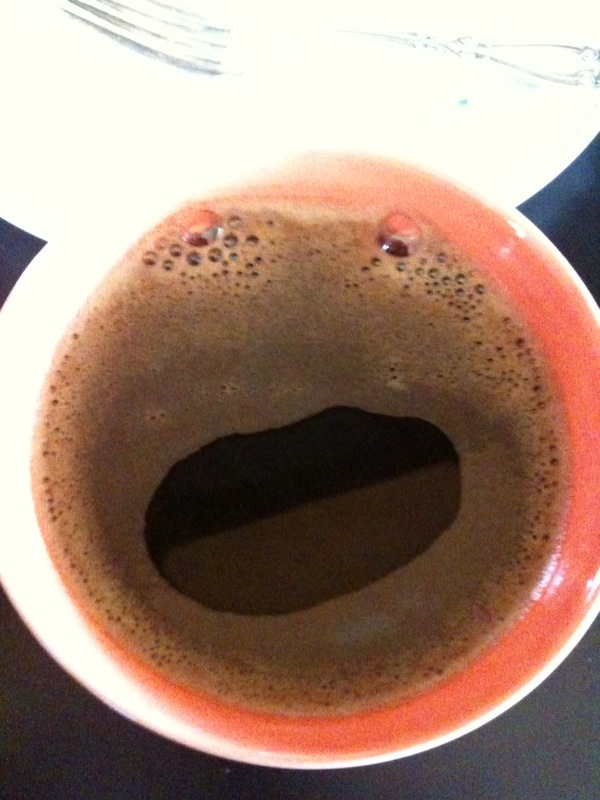 """Look at the """"Funny Face"""" design in my coffee!! Froggie?! :D"""