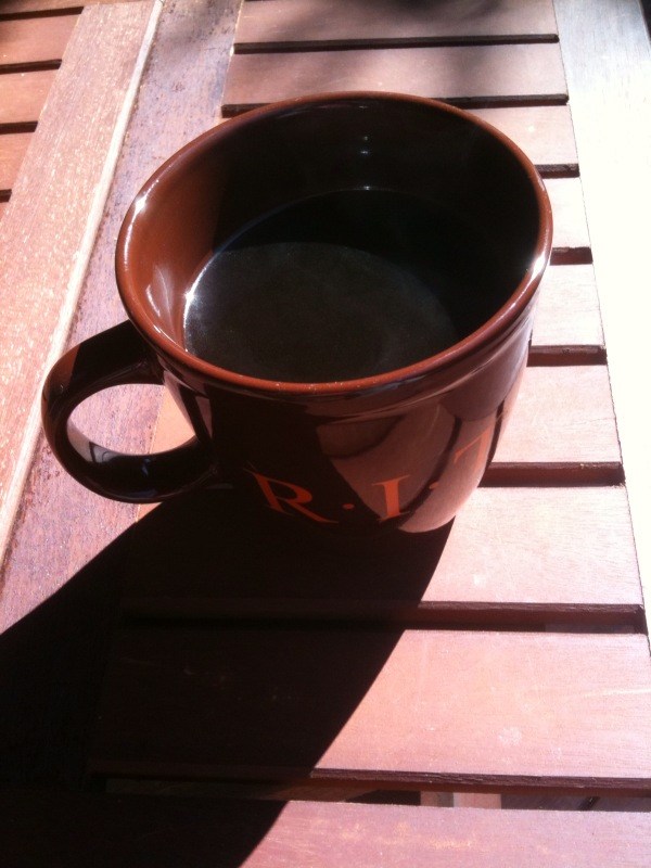 Enjoying cup a Joe out in backyard in the SUN!!! Spring is here! :) #ROC