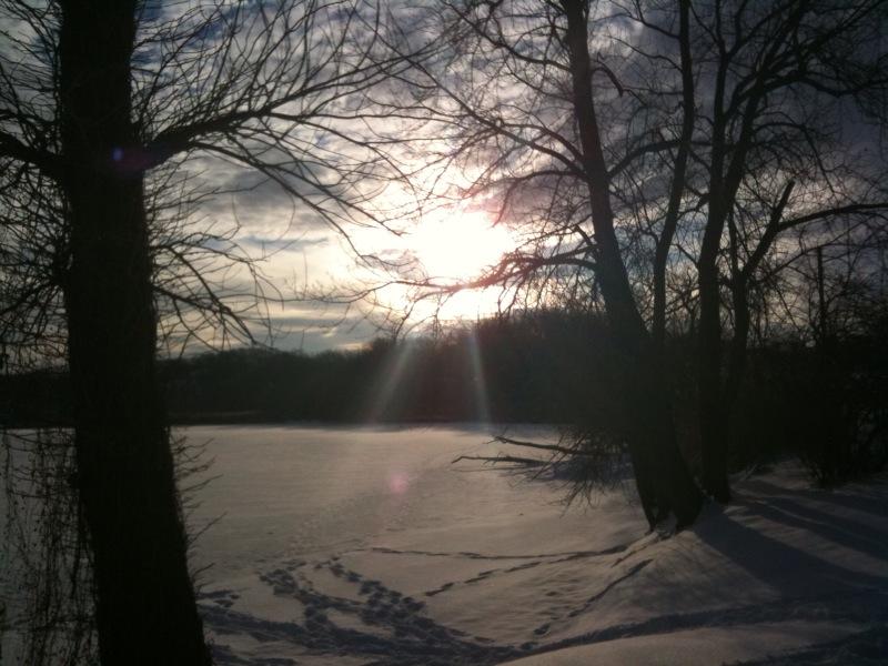 Beautiful snowy, frozen Irondequoit, NY Bay with sunshine! #Rochester