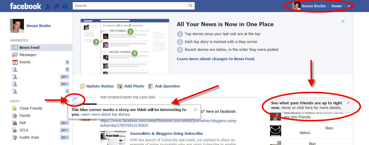 facebook update news ticker and Top News