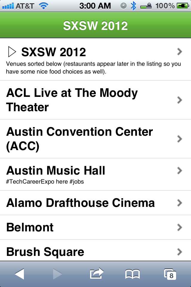 SXSW Venue Map - mobile version