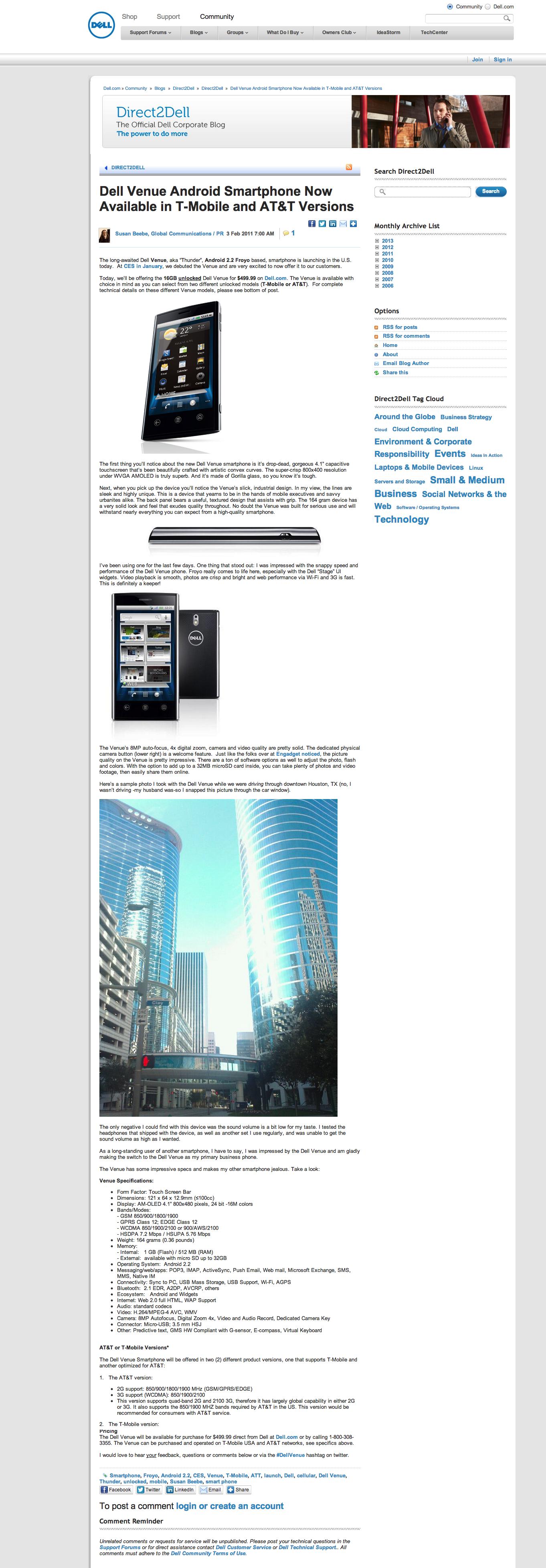 Dell Venue launch blog post