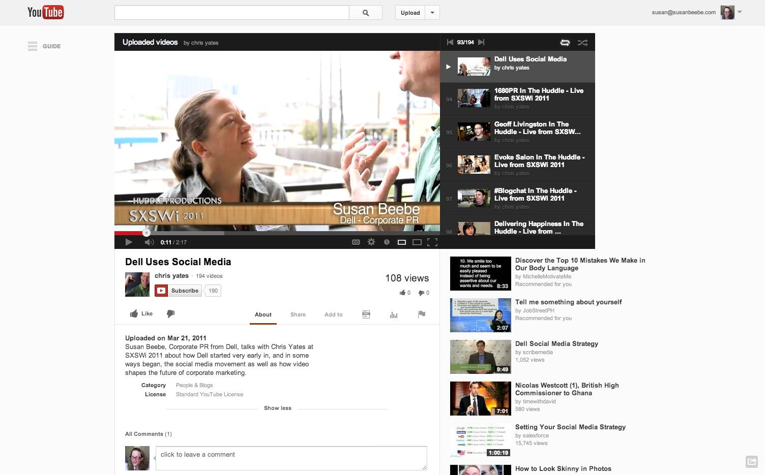 VIDEO: Susan Beebe at SXSW 2011 re Dell social media.