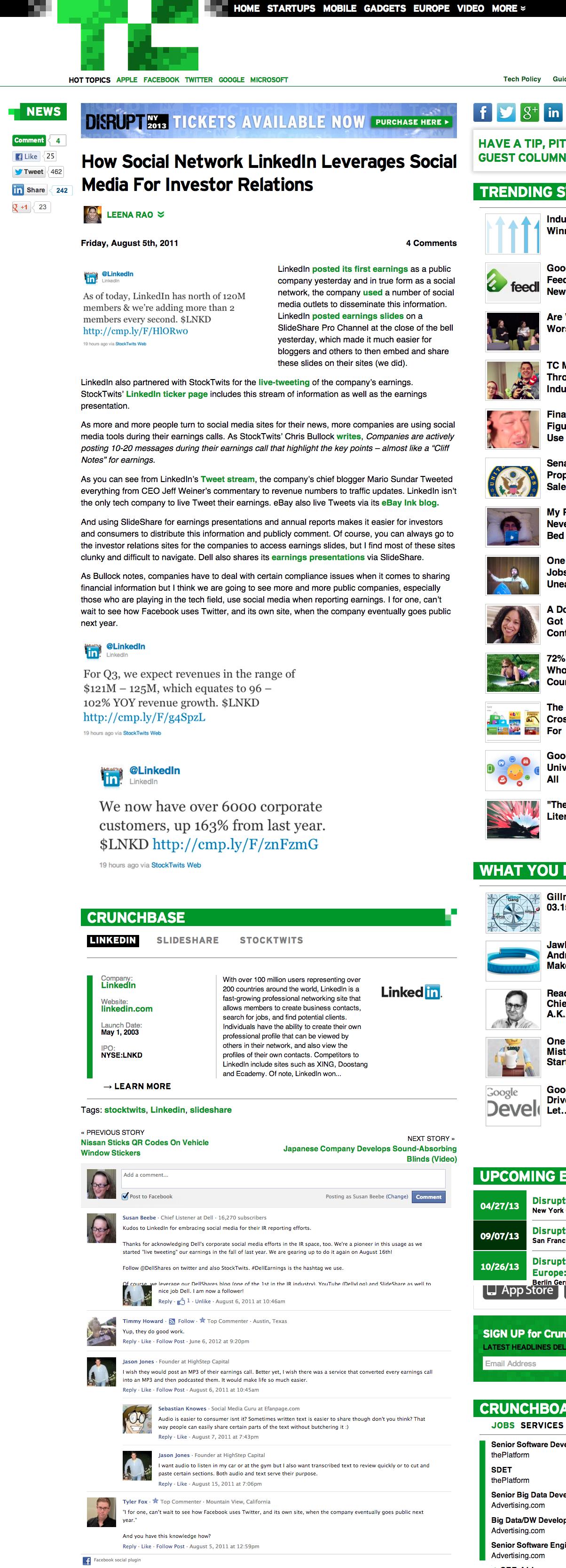 TechCrunch mention of Dell social media for investor relations / slideshare.
