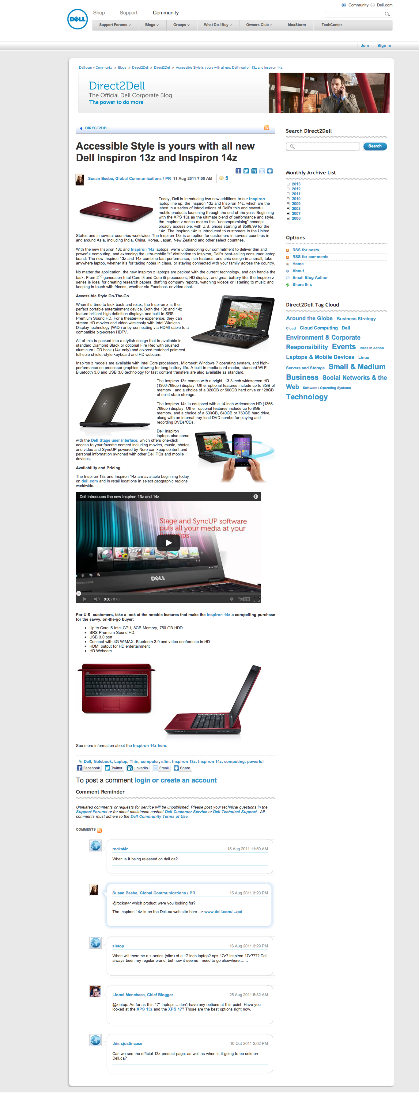 Accessible Style is yours with all new Dell Inspiron 13z and Inspiron 14z