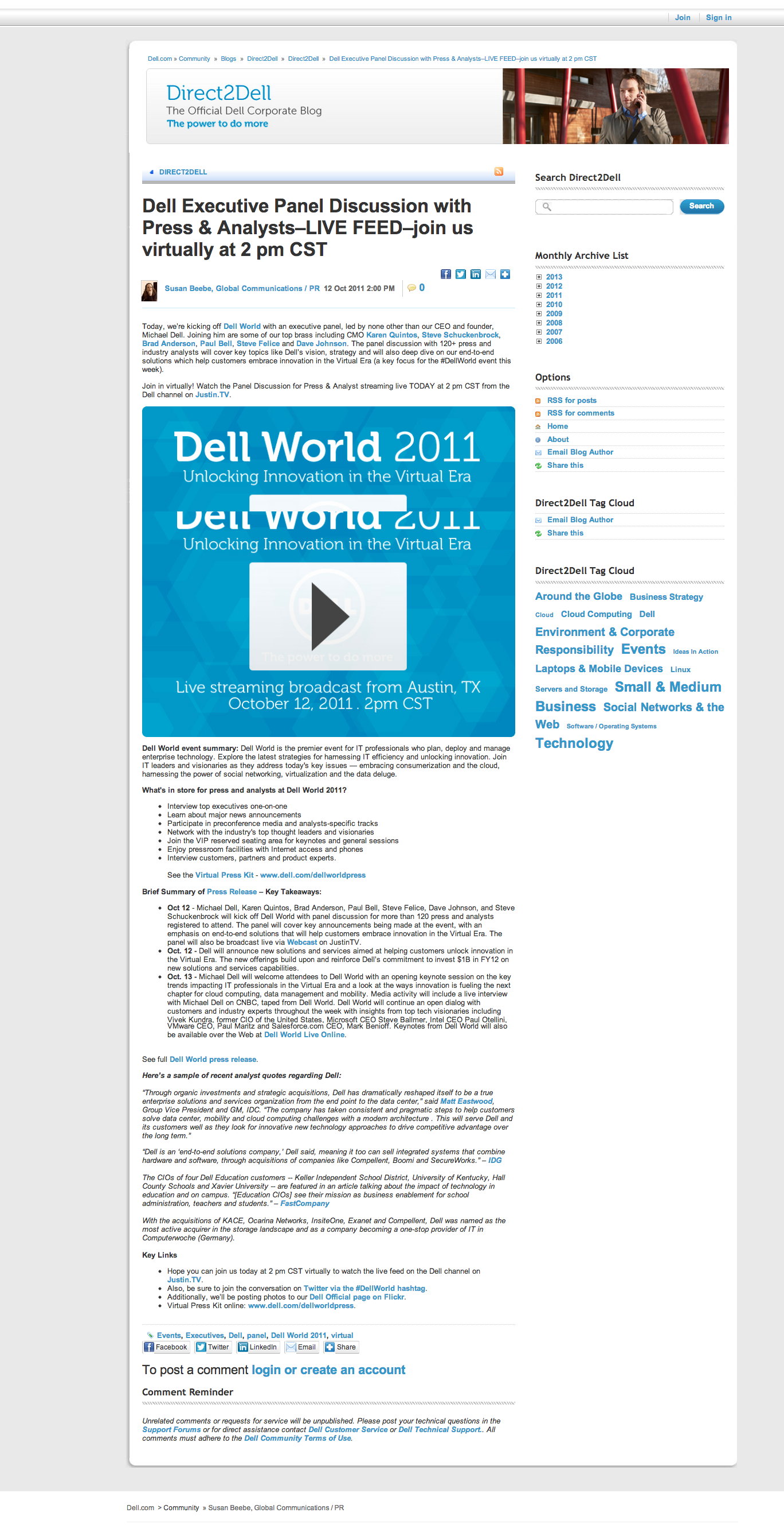 Dell Executive Panel Discussion with Press & Analysts–LIVE FEED–join us virtually at 2 pm CST