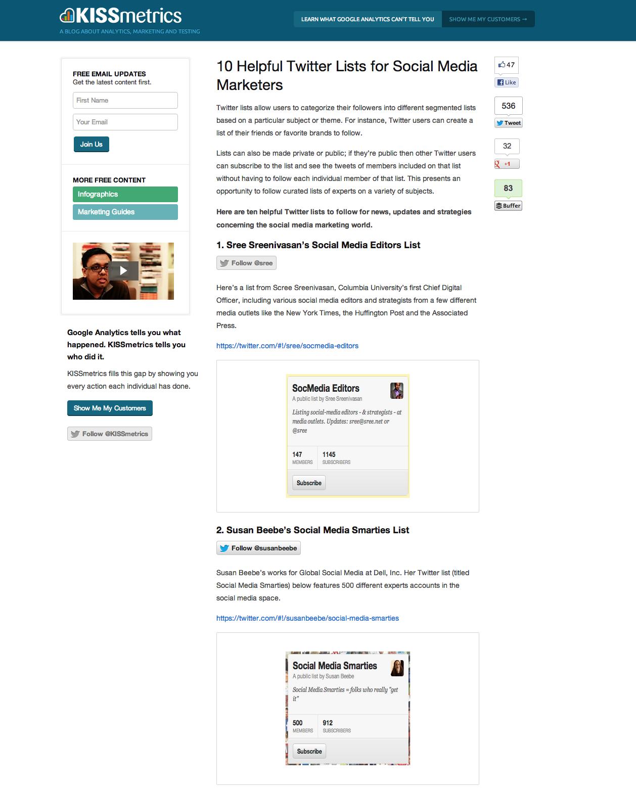 KissMetrics Blog - 10 Helpful Twitter Lists for Social Media Marketers