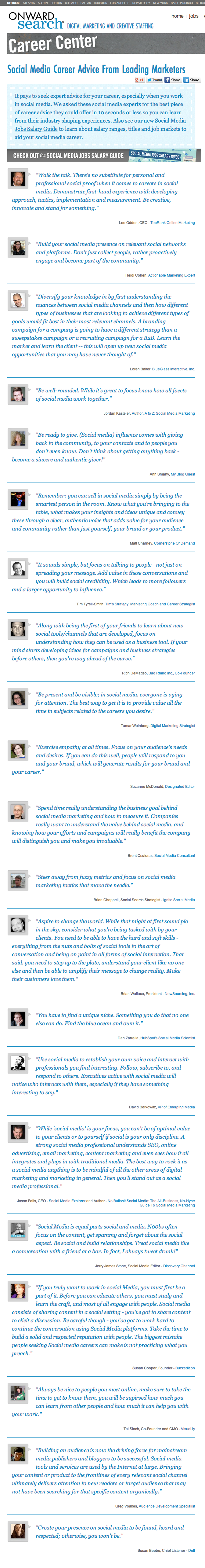 Social Media Career Advice From Leading Marketers