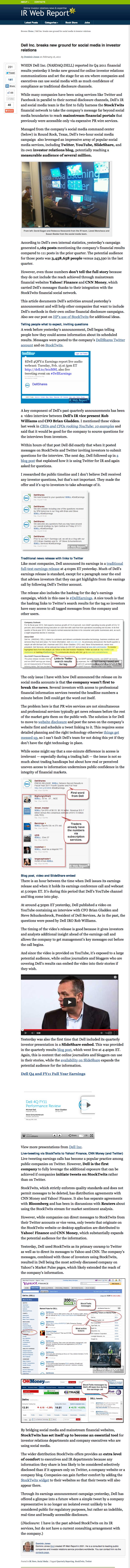 Dell Inc. breaks new ground for social media in investor relations