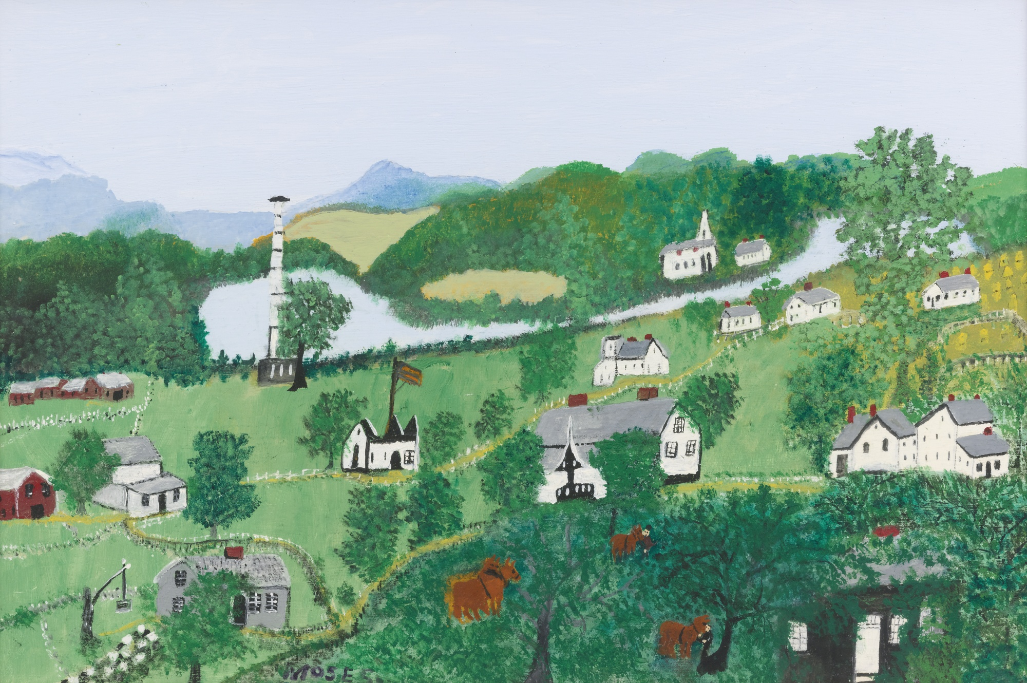 Quiet Village by Grandma Moses