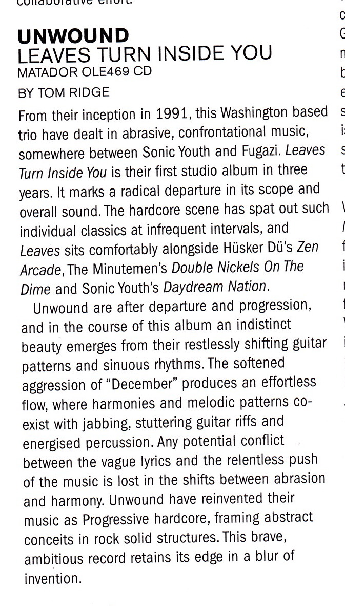 April 2001 The Wire  review of Leaves Turn Inside You