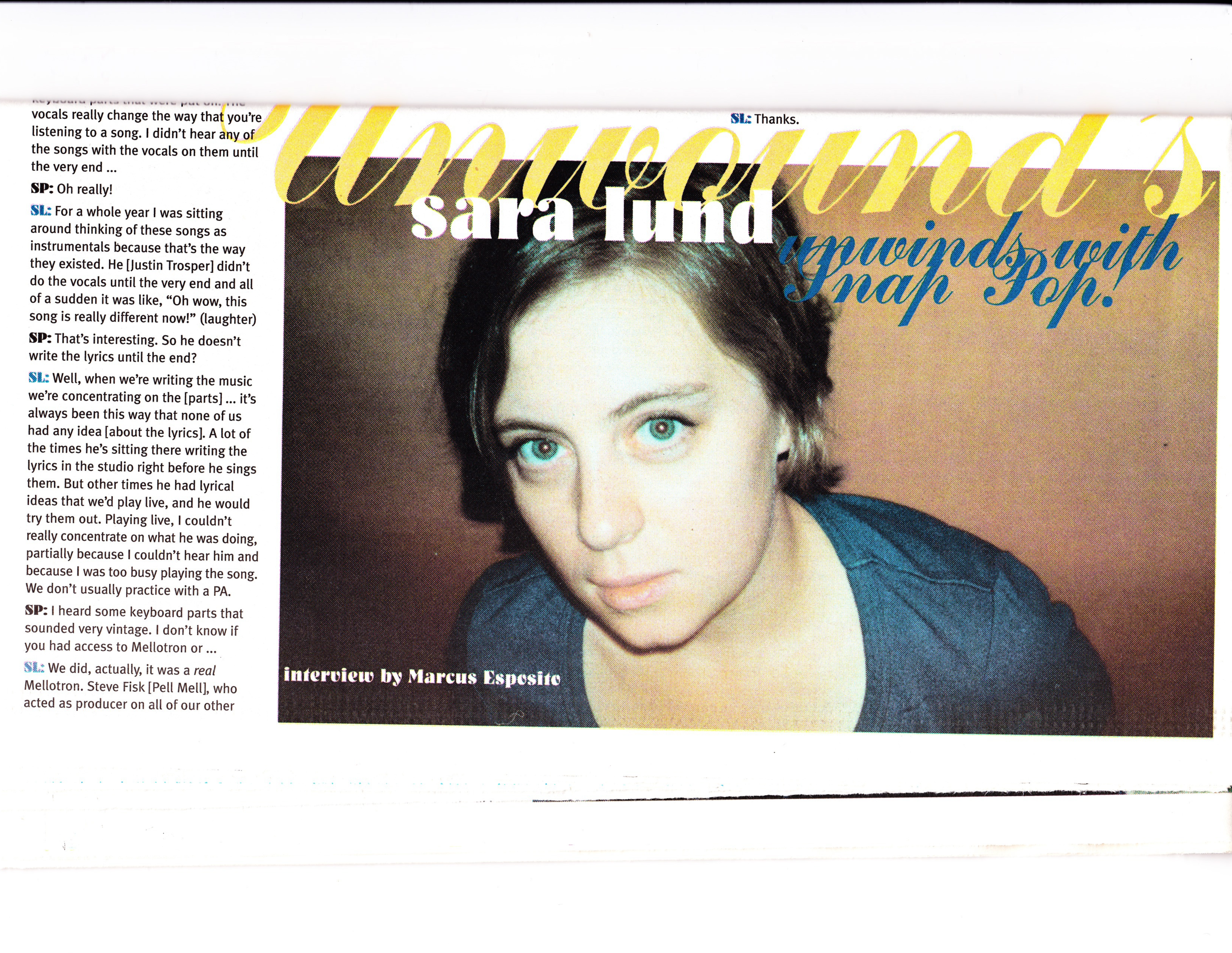 Snap Pop! Sept/Oct 2001 interview with Sara Lund p.2