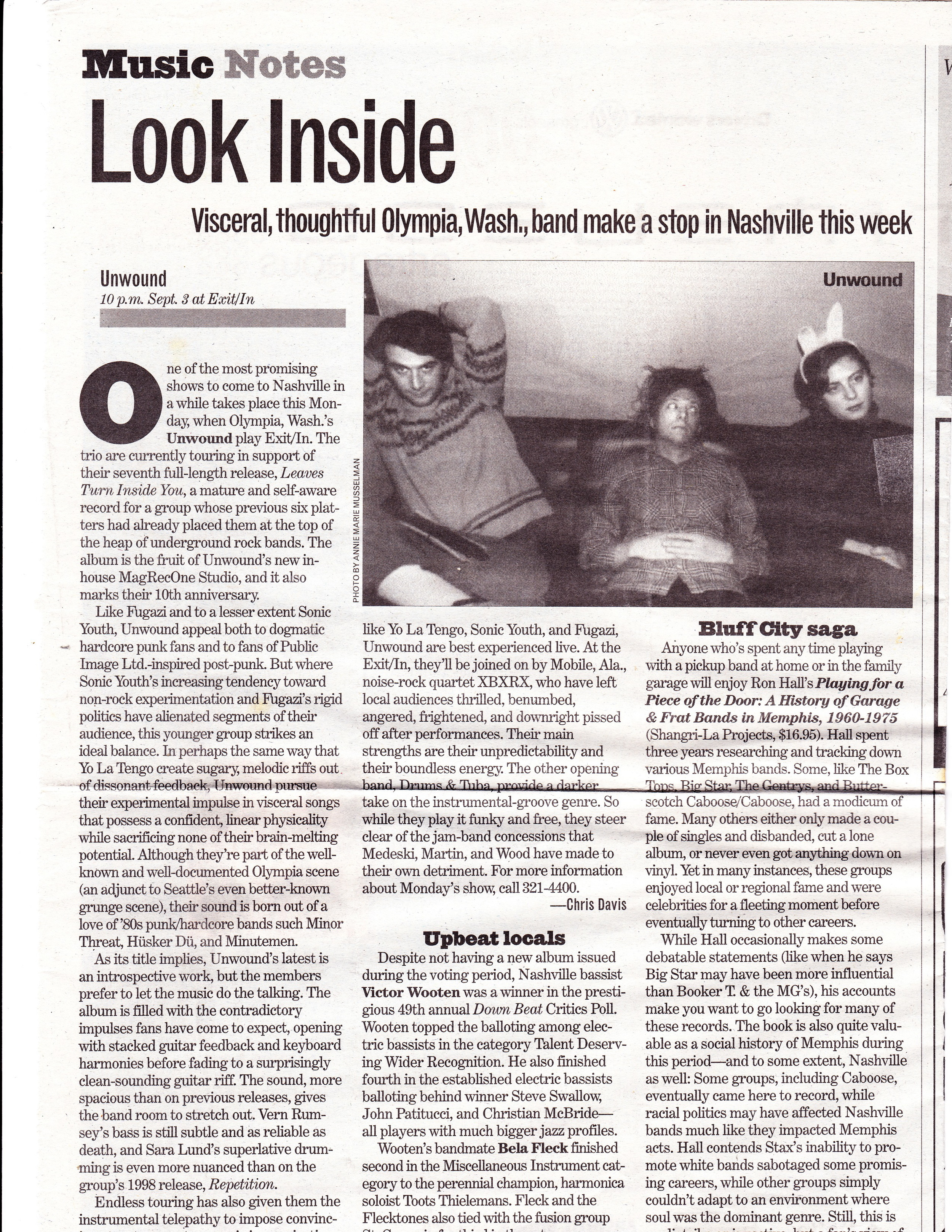 Nashville Scene Aug 30, 2001 Show Preview