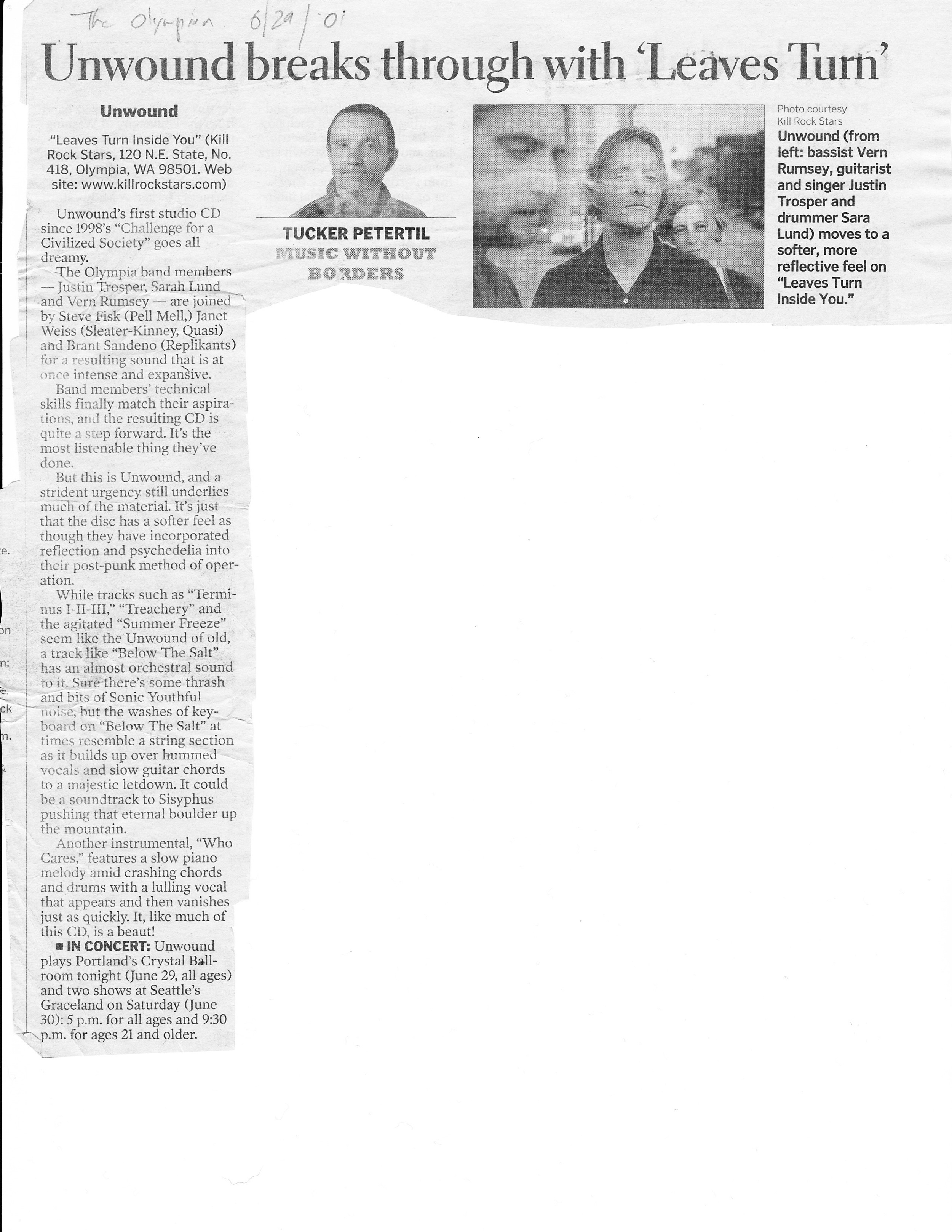 Review of Leaves Turn Inside You   Olympian 6/29/01