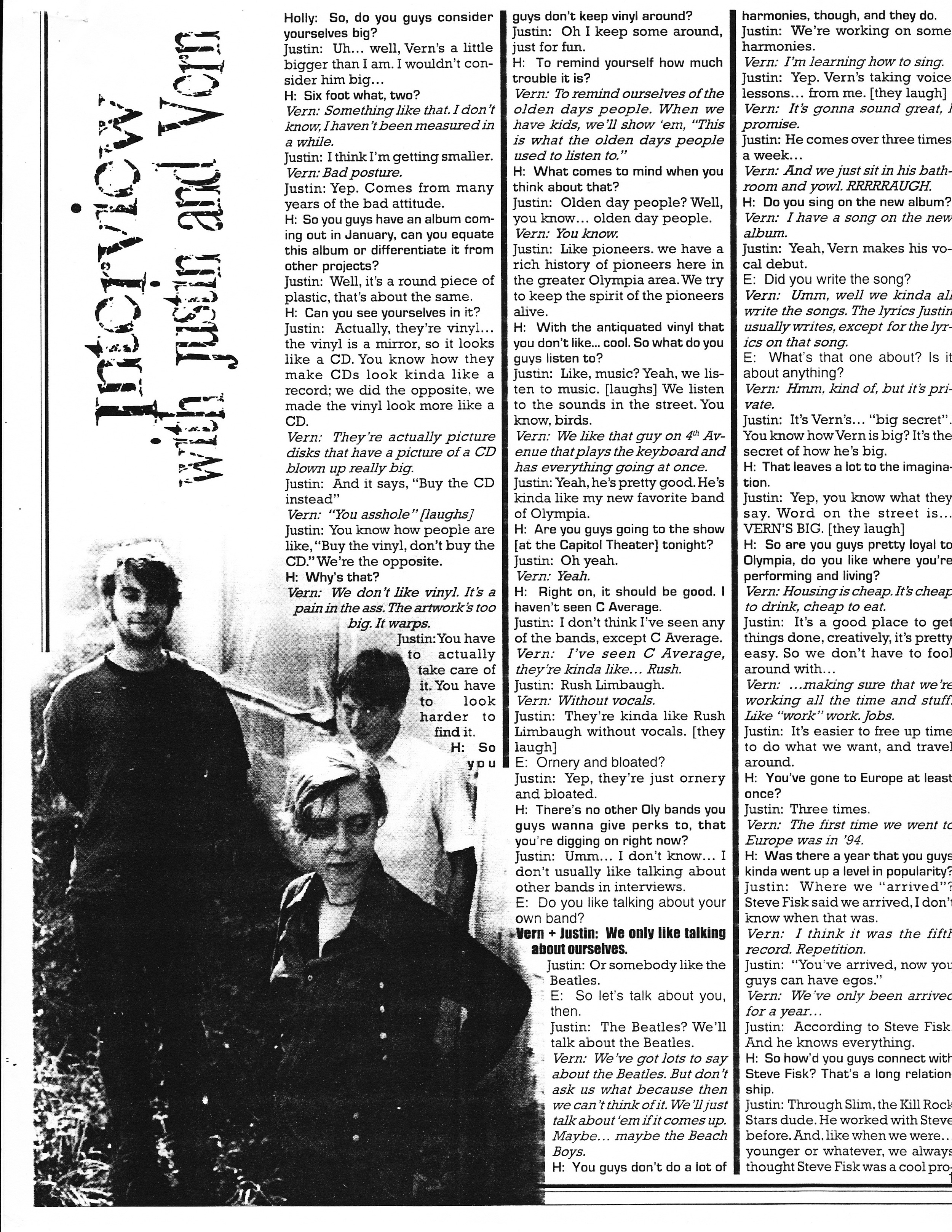 Axis Music & Media Dispatch Jan 1998 Interview with Justin and Vern. p.2