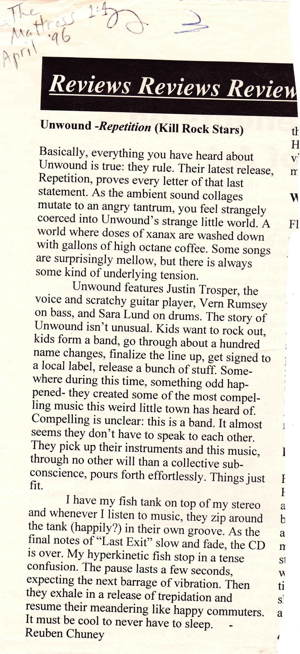 The Mattress review of Repetition April 1996
