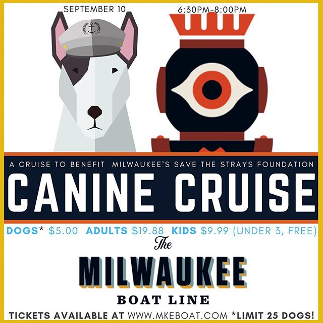 Save the Strays! Benefit boat cruise, tickets now available online! Get 'em while they last (only 25 dog tickets available!) All ticket sales go straight to @savethestraysmilw . Mkeboat.com/specialevents . . . . #savethestrays #rescuefosteradopt #rescuedog #boatdog #dog #dogsofinstagram #boatride #donation #dogood #caninecruise #milwaukee #mke #414 #greatlakes #midwest #midwestisbest #vistaking #dogsonboats #lendahelpingpaw