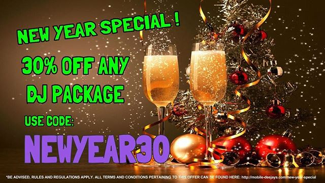 HURRY! Dates are going FAST! Our annual New Year Special is now LIVE. Sale ends at midnight on February 1, 2017 -- https://goo.gl/0khmO9 #DJ #MOBILEDJs #PARTY #NEWYEAR #NEWYEARS #SALE #EVENT #EVENTS #DJS #2017