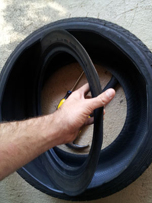 This is now the top side of your tire sled.