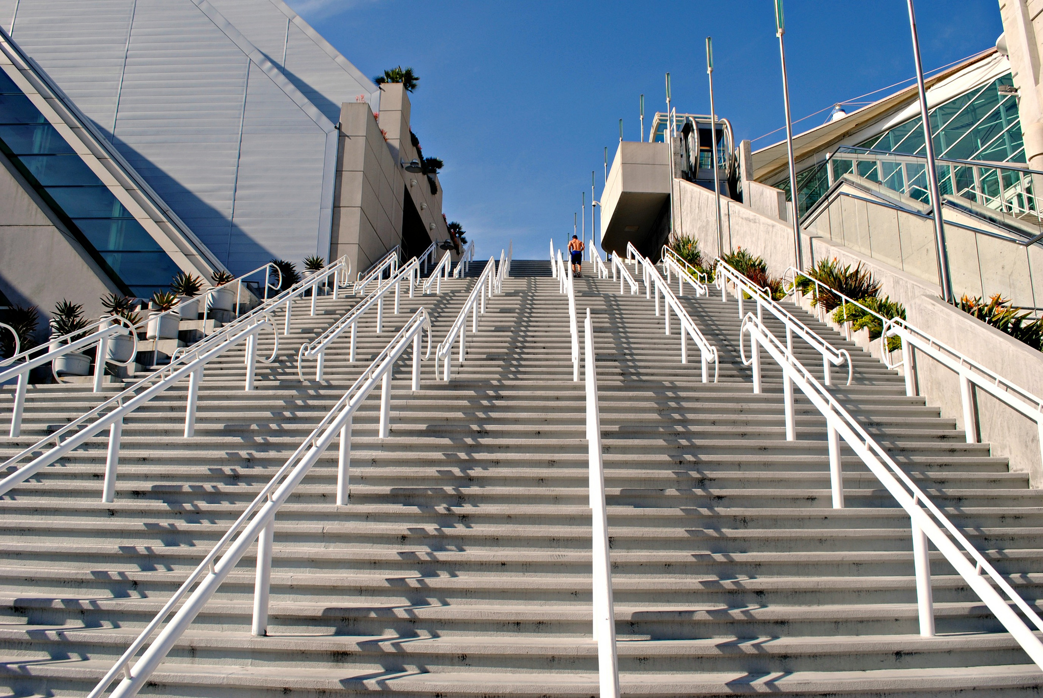 Man running the San Diego Convention Center stairs