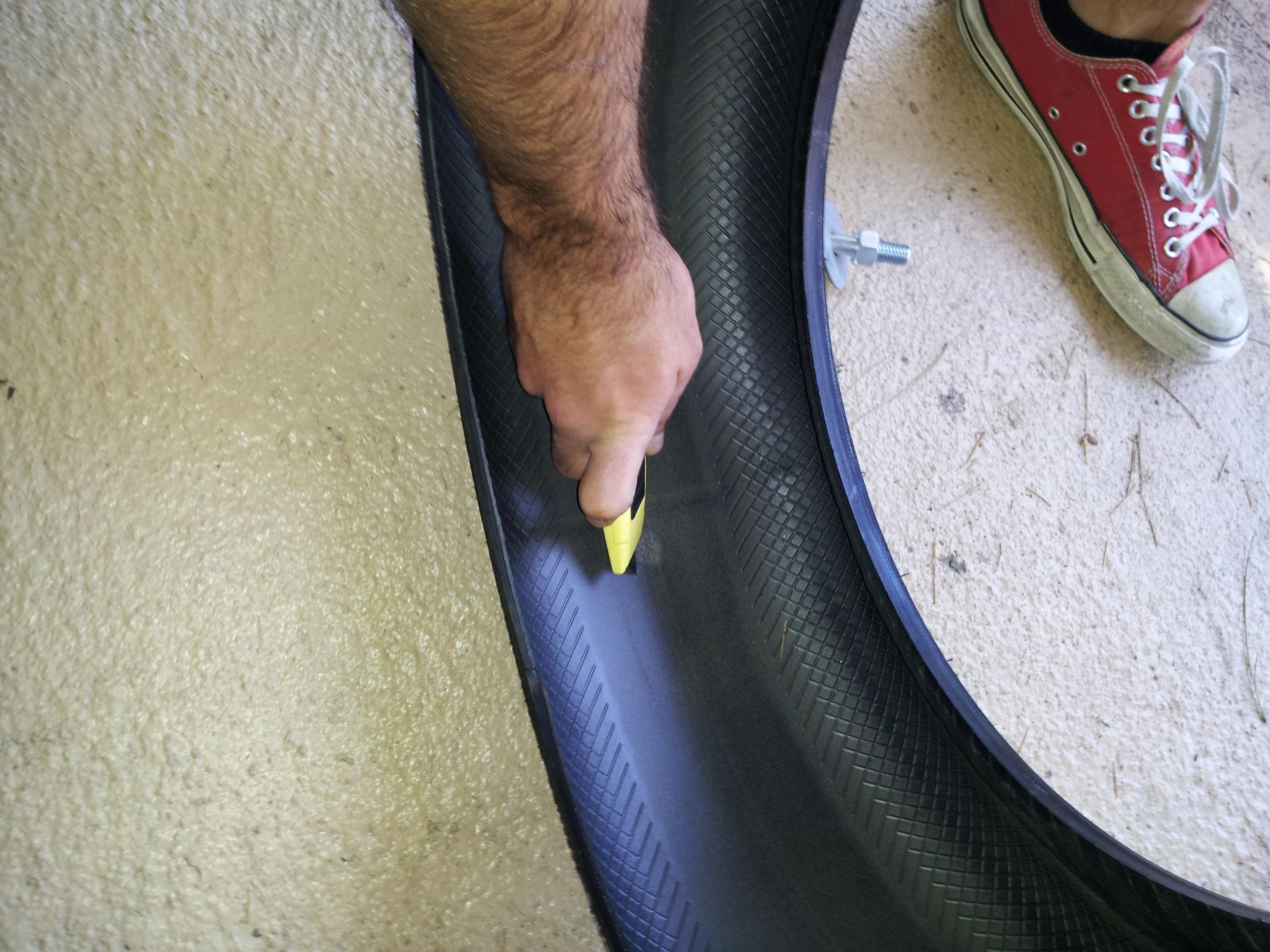 Mark a spot for the tire sled's eye bolt