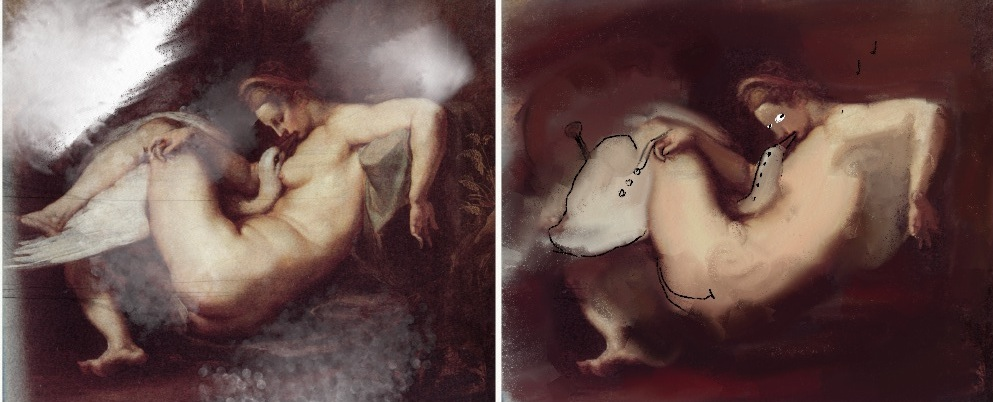 """This piece (on the left), more probably than not to be attributed to Rubens, was found in a pitiful state on the doormat of our lab. Having removed the canvas from its frame, we set the T75280AC (Condenser tumble dryer with medium sized LCD display, Energy class B) to a gentle 60 min wash, adding only the finest coarse ground gnu hooves. We were then able to reproduce the original shape of the uilleann pipes using dusted charcoal and a little spit."""