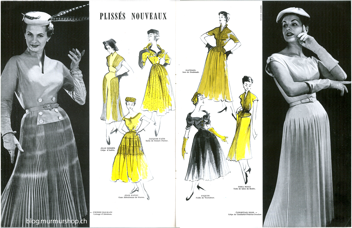 dress on the far left is by Pierre Balmain, dress on the far right by Christian Dior