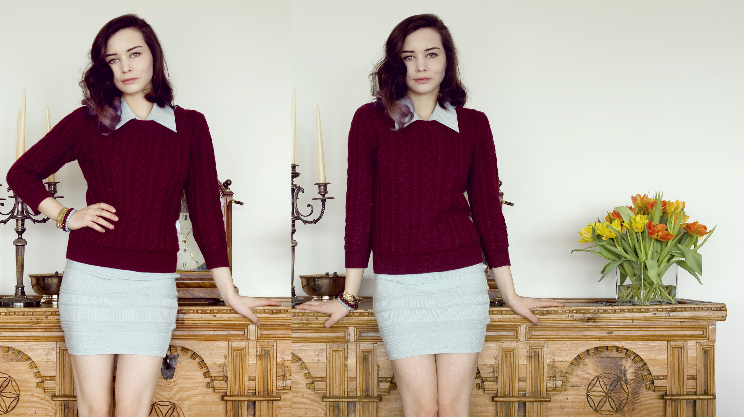 sweater from h&m, thrifted blouse, skirt from american apparel (plus I wore tights when I wore this to work...)