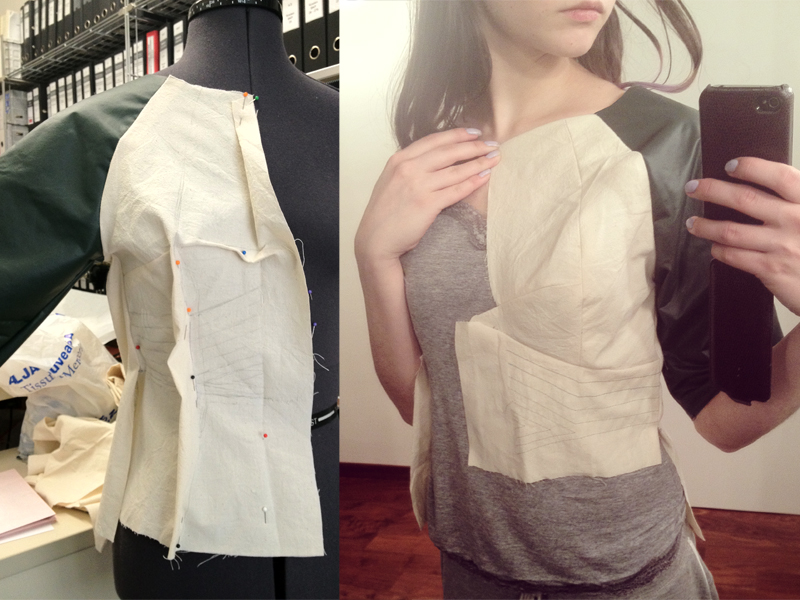 draped a basic raglan bodice to get the fitted shape I want, took it apart to make a pattern and made another muslin