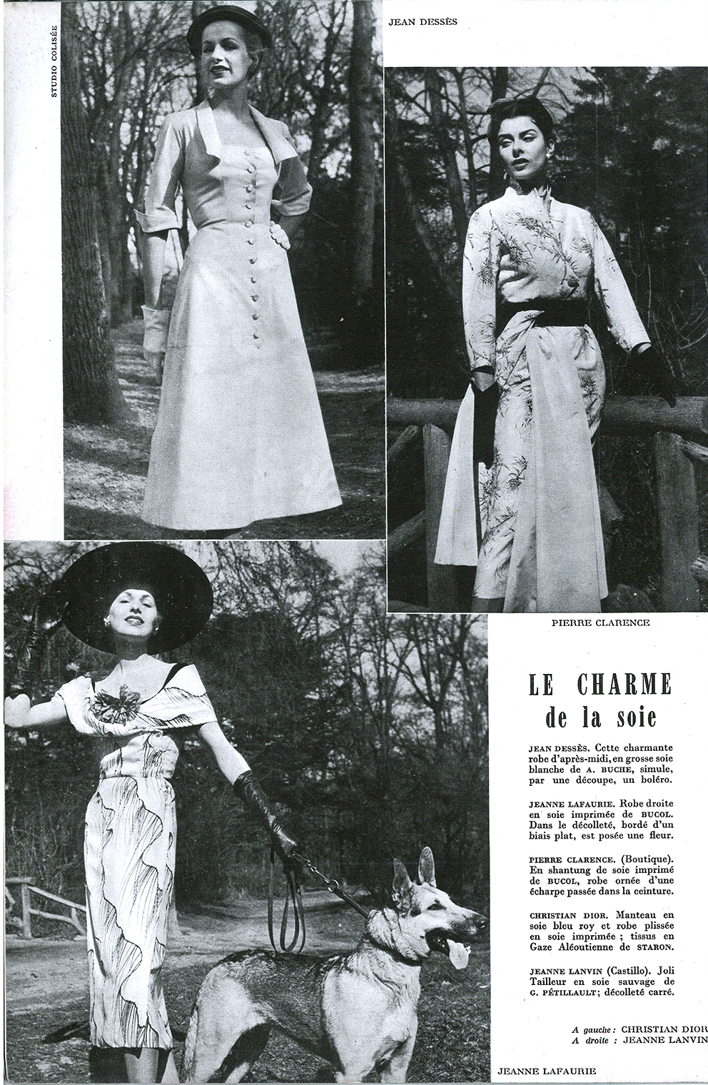 Top left: dress by Jean Dessès, Top right: Pierre Clarence, bottom: Jeanne Lafaurie