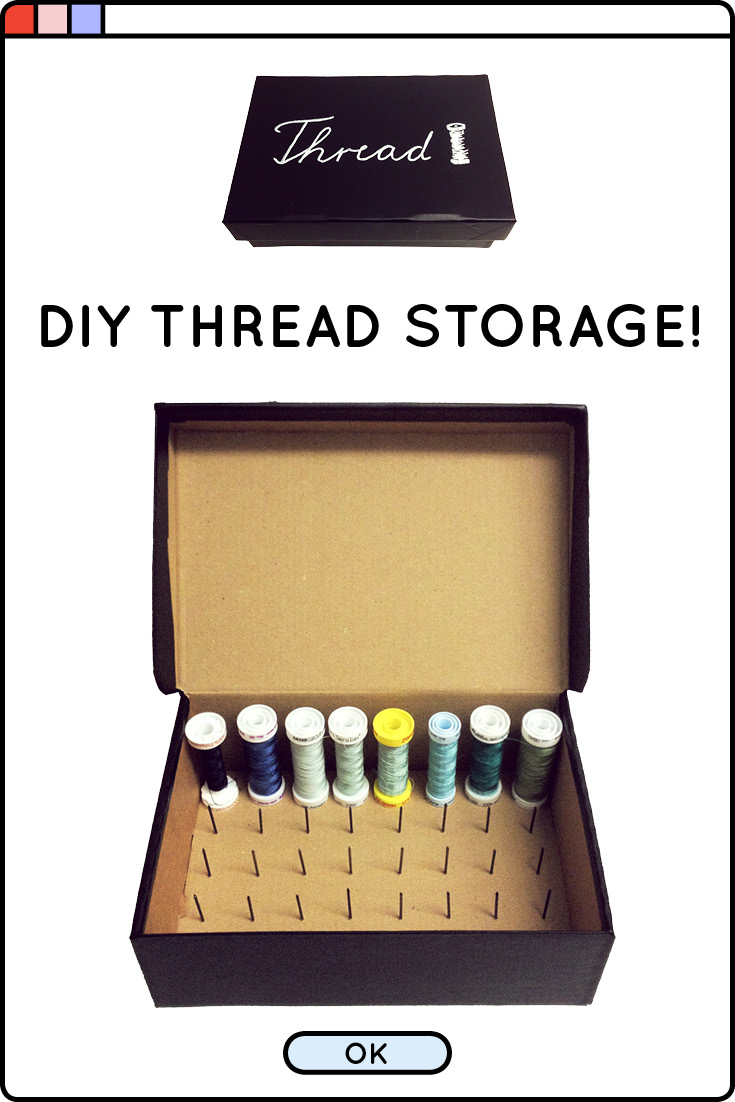 Looking for a better way to store all your spools of thread? Tired of them getting tangled or lost? Try this quick and easy DIY to create a thread spool storage box, using only a small cardboard box, nails and contact paper!