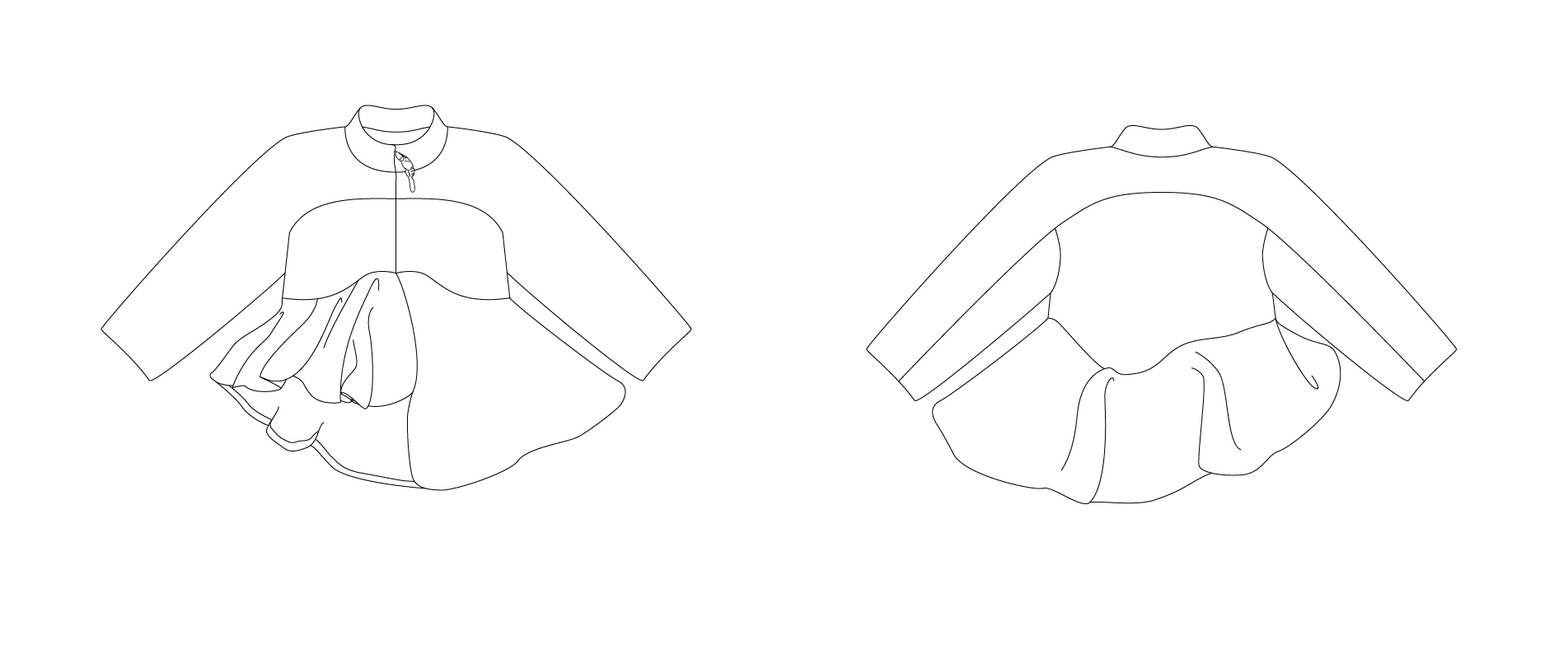 technical drawing for asymmetric faux fur jacket #graduatecollection #fashiondesign #fashiondesignstudent